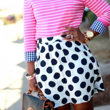 The Serena Saga polka dot stripes and ginghmam outfit 1